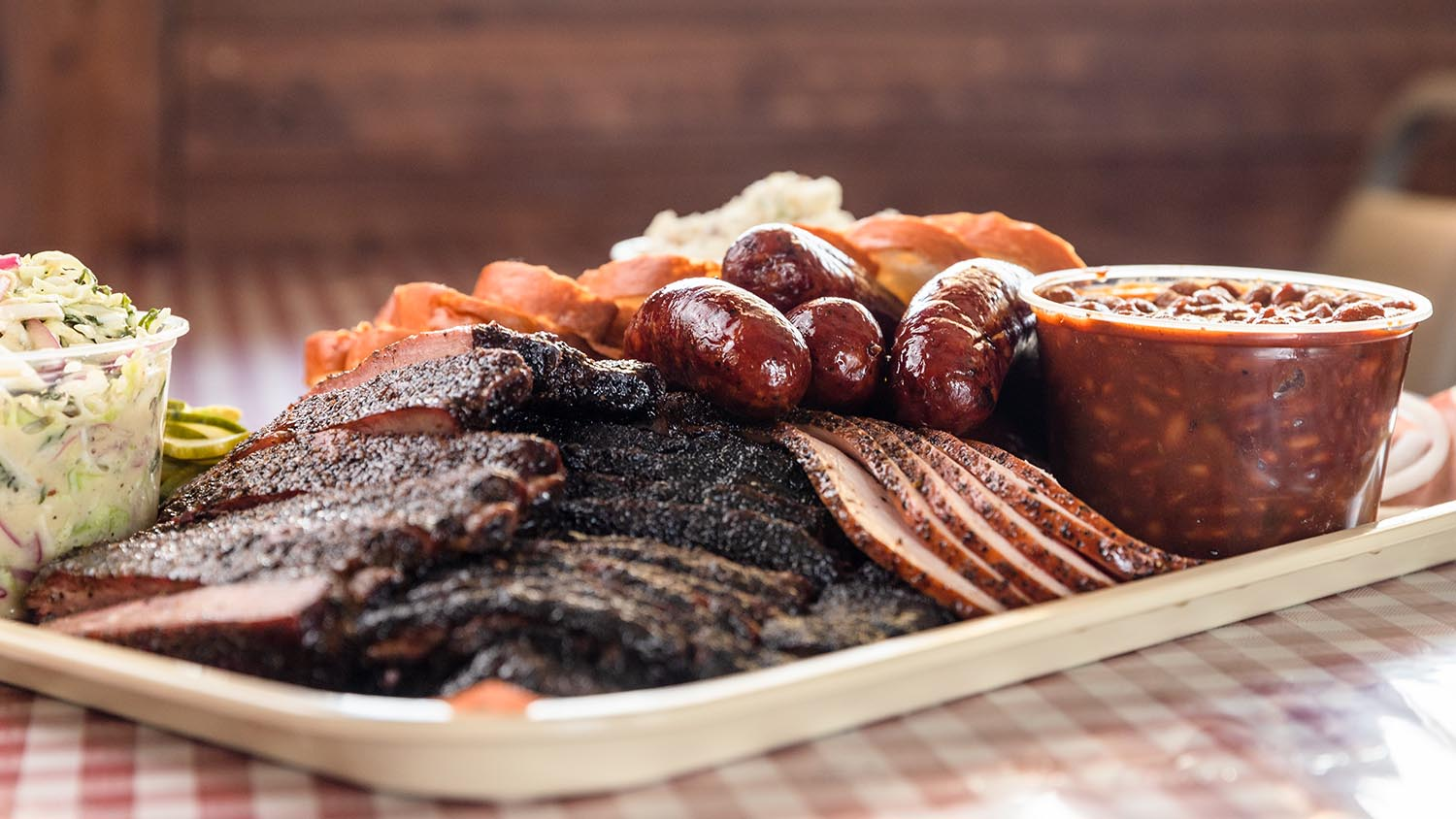 A tray of barbecue food